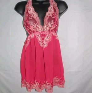 VS Very sexy red embroidered lace babydoll slip